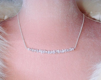 Herkimer Diamond Necklace, Metaphysical Jewelry, Magick, AAA Double Terminated Points, Silver Necklace April Birthday, Made to Order Custom