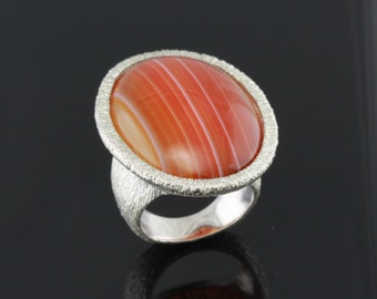 Oval Agate Gemstone Sterling Silver Ring