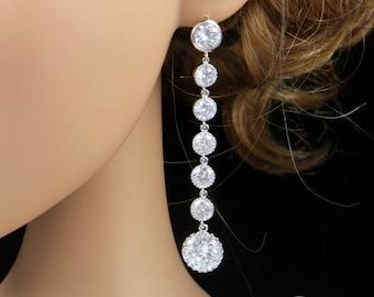 Jennifer - Bridal Earrings, Bridesmaid Earrings, Clear Round Cubic Zirconia Crystal, Diamond Earrings