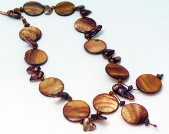 Copper Mother of Pearl  Necklace