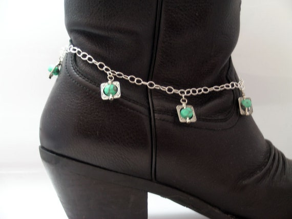Silver and Turquoise Boot Bracelet