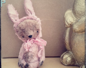 MADE TO ORDER 4,5 inch Artist Handmade Pocket Sized Pink Teddy Bear Playing the Bunny by Sasha Pokrass