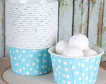 Light Blue Dot Baking Cups, Sky Blue Candy Cups, Nut Cups, Portion Cups, Muffin Cups, Frozen Winter Party Baking Cups (24 ct)