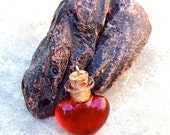 Small Glass Dragon's Blood Heart Vial Pendant