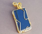 Dancing blue recycled tile wire wrapped pendant- upcycled tile line