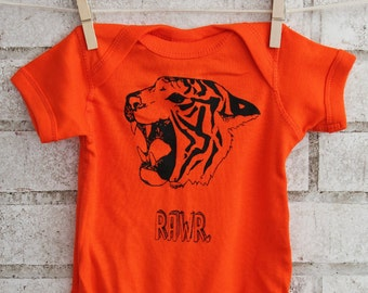 Orange Tiger Baby Bodysuit, Cotton Infant Creeper, Onepiece, Roar, Rawr, Big Cat, Wild Animal, Zoo Animal, Safari, Hand Printed, Screenprint