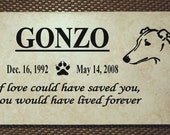 """Greyhound Memorial plaque. Maintenance Free 12""""x6""""x3/8"""" """"Gonzo"""" design  Price includes shipping."""