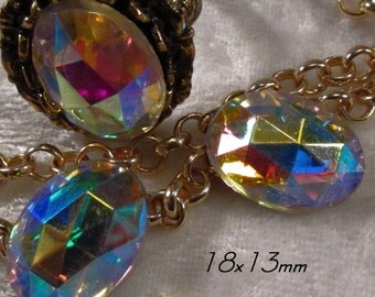 CZECH GLASS - 18x13mm - Crystal AB -  Faceted Cabochon - 3 pcs : sku 06.06.13.5 - S5