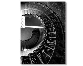 Down the Staircase Spiral Lighthouse Stairs Fine Art Photograph - Beach Decor - Cape Blanco Lighthouse Oregon Coast - Oregon Gifts
