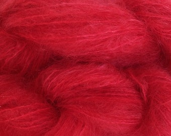 Mohair Yarn in Strawberry Red Fingering Weight