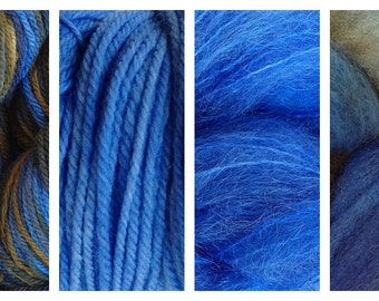 Hand Dyed Samples of Merino Wool DK Sport Weight Yarn in Indigo Cowboy