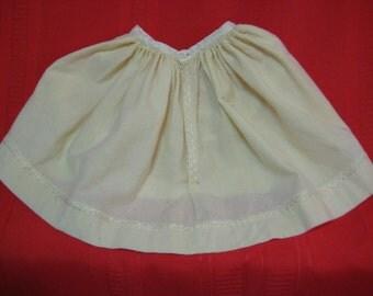Antique Vintage Original Doll Dress Light Yellow Cotton Bisque Doll Clothes  Slip Skirt