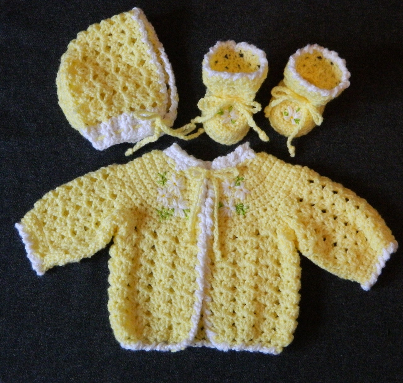 Crochet Baby Bonnet And Booties Pattern : Crochet Baby Sweater Bonnet & Booties Pattern Fits A Small