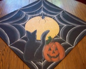 Black Cat, Jack o Lantern and spider by the full moon Table Topper FFCOFG