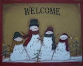 Whimsical Snowman Family Welcome Mat for Christmas