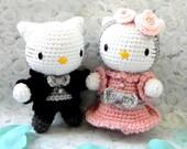 Crochet Amigurumi doll pattern - Wedding kitty couple - amigurumi toy doll tutorial PDF