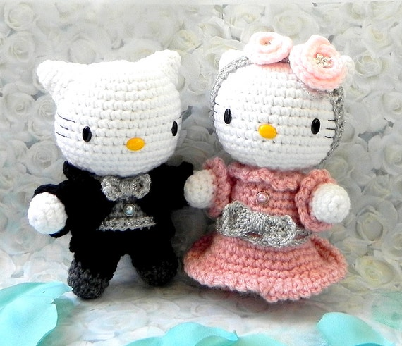 Tutorial Amigurumi Kitty : Crochet Amigurumi doll pattern Wedding kitty couple by ...