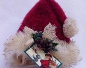 Primitive Santa Hat Ornament Ornie or Small Tree Topper by Happy Valley Primitives