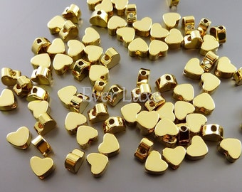 4 SHINY gold 5mm tiny heart beads, love beads, heart spacer beads, charm bracelets, necklaces 1789-BG-5 (bright gold, 5mm, 4 pieces)