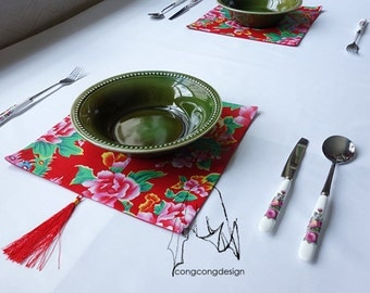 Placemats of peony flowers home decor and gift -set of 2