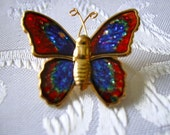 Colorful Lovely Butterfly brooch Blue, Red,white and gllitter