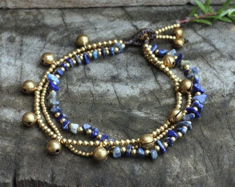 Lapis lazuli Sunshine Brass Anklet