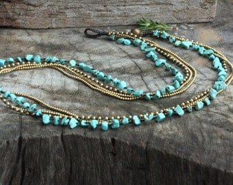 Turquoise Brass Chain Long Necklace
