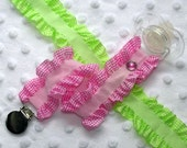 Pink Check Ruffle Pacifier Clip Soothie Holder (Green no longer available)