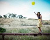 Happy Yellow vintage flower skirt - retro knee length twirling skirt