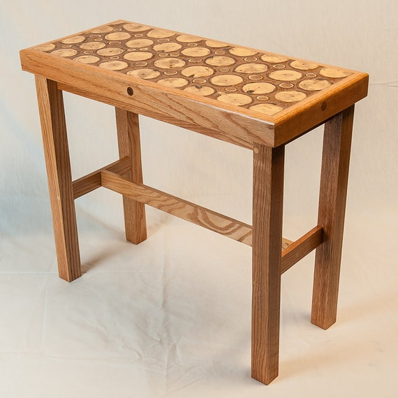 End grain oak side table long and narrow for Long side table