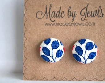 Fabric Button Earrings - Blue Vines - Buy 3, get the 4th FREE