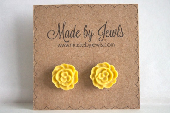 Mustard Yellow Rose Earrings - Buy 3, get the 4th FREE