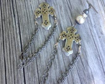 Vintage Multi metal Cross Assemblage Earrings, Haskell pearls,OOAK,Repurposed,Religious,Statement