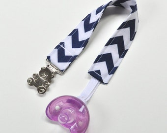 Baby Pacifier Clip, Baby Binky Clip, Navy Chevron, Baby Shower Gift Idea, Stocking Stuffer