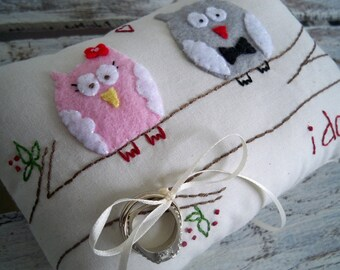 Owl Always Love You. Custom Owl Wedding Ring Bearer Pillow in YOUR wedding colors