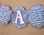 Elephant Chevron Stripe and Polka Dot Its a Boy or Name Banner Baby Light Blue, and Gray Baby Shower Birthday Party Decorations Banner