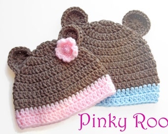 Crochet baby hat / Lil Teddy baby hat/ baby hat /crochet hat/ photo prop for baby pictures