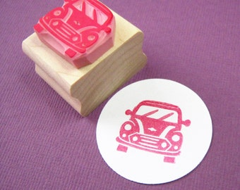 Car Rubber Stamp - Mini Car Hand Carved Rubber Stamp - Gift for Car Lover - Gift for Hipster - Vehicle Stamper - British Car - Scrapbooking