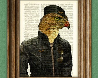 The Ultimate Wingman, Hawk Aviator fighter pilot in garrison hat altered art dictionary page illustration book print