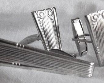 Retro Vintage Silver Cuff Links and Tie Tack Men 1960's
