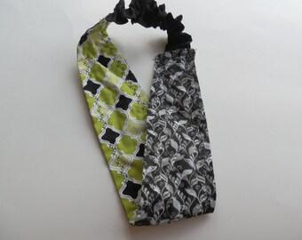 Reversible Green/Black Fabric Headband