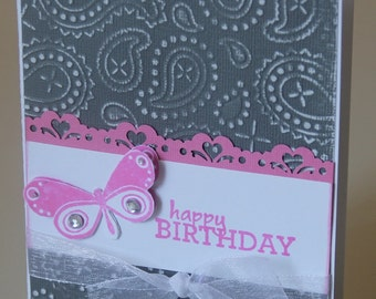 Embossed Birthday Card with Butterfly in Pink and Gray (EBD1302)