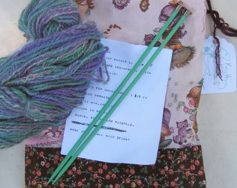 CLEARANCE Knitting Kit #4 - Handspun yarn, project bag, vintage needles, basic scarf pattern