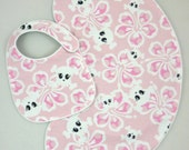Baby Girl Burp Cloth and Baby Bib Set Tropical Skulls