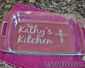 Christian Cross.  Engraved 9x13 Pyrex. Great for Church Potlucks! 3 Quart Baking Dish Customization + Red Lid Free