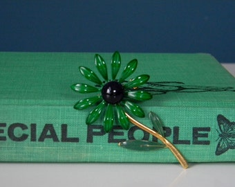 Vintage Blue and Green Enamel Daisy Brooch