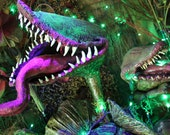 Custom Halloween Decor-Venus Flytrap (Paper Mache Black Light Reflective) - scatterbirdie