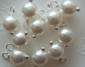 10 - Hand wrapped w/ silver 6mm White Glass Pearls  Dangles-Charms