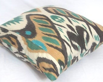 torques, brown, off white, ikat pillow case, 20x20 inches or 50x50 cm, oriental decoration, ikat fabric, accent pillow, BEST PRICES for ikat