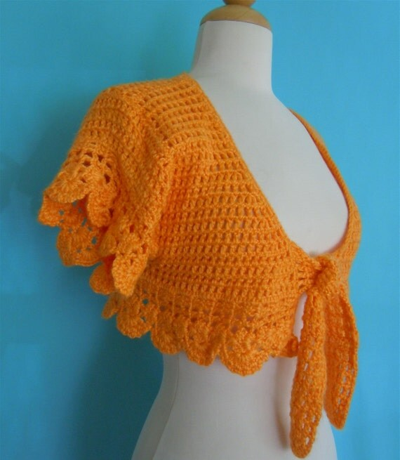 vintage 60's orange crochet ~ cropped tie top